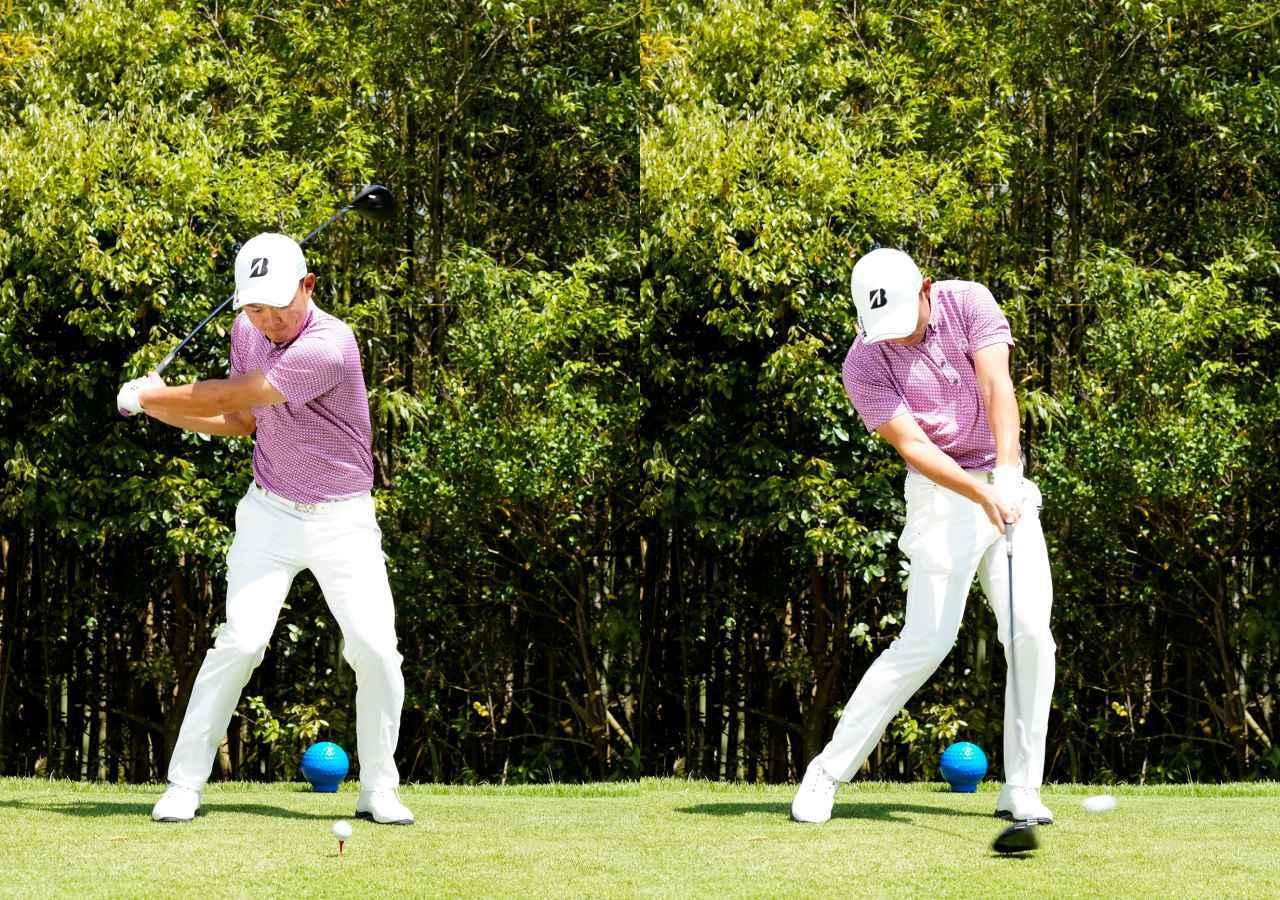 画像: 画像B:ダウンスウィングでは頭の位置が低くなるくらいしっかりと前傾角をキープ。そのことで手元が浮かず、手先を使わずにターゲットに向けてボールを押し込むようなインパクトができている(写真は2021年の関西オープン 写真/岡沢裕行)