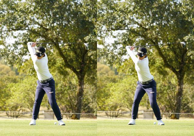 画像: 画像A:手元がボールから遠い位置にあるトップから、左足で踏み込んで切り返し。同時に前傾は深くなり、頭の位置も下がる(写真は2021年のTポイント×ENEOSトーナメント 写真/大澤進二)