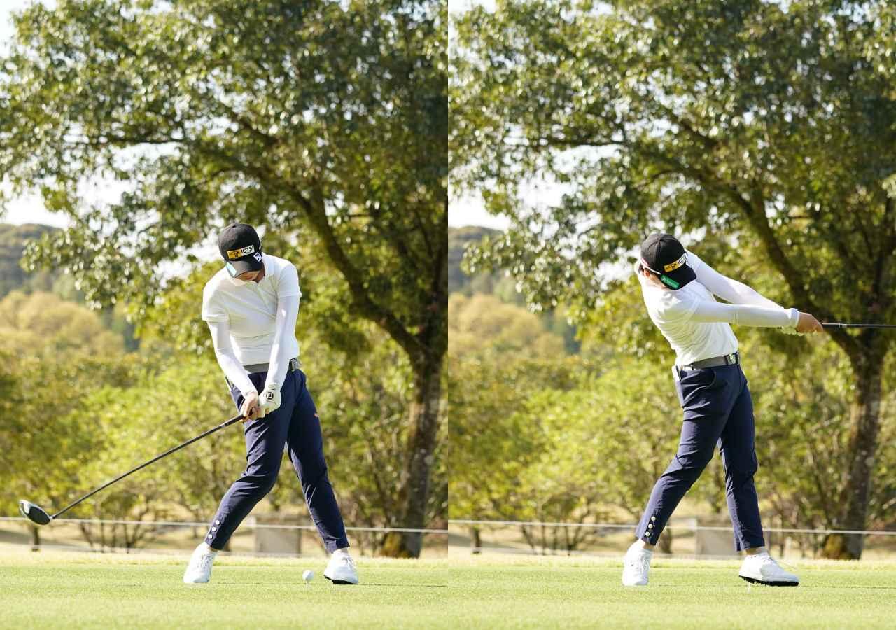 画像: 画像B:左ひざを伸ばした反動で銃身は右に戻り、そのままインパクトを迎える(写真は2021年のTポイント×ENEOSトーナメント 写真/大澤進二)