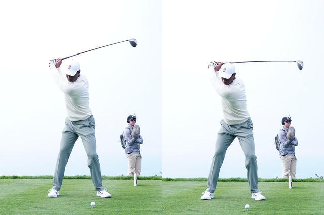 画像: トップから切り返しにかけての動き。ヘッドが下りると同時に下半身が左に動き出す
