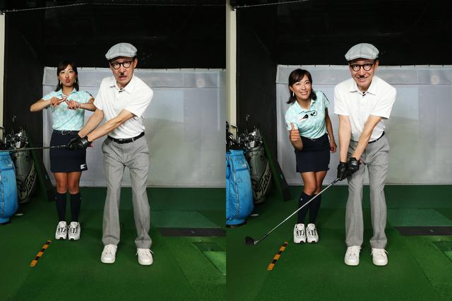 画像: 58度で15ヤードを打つ際の、間違ったクラブの上げ幅(左)と正しい上げ幅(右)ヘッドは膝下くらいの高さまで上げれば十分。
