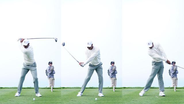 画像: トップからフォローまでの動き。ダウンスウィングでは体の動きに合わせて自然と腕が動いていく