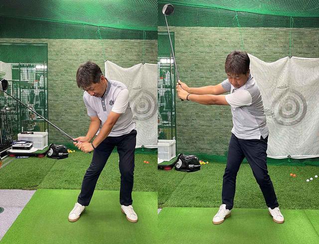 画像: (左)プロの連続写真のような「タメ」をわざと作っても逆に飛ばなくなります。(右)切り返しでクラブを遠くに放り出すイメージで、クラブに負荷をかけて大きな円弧で振る
