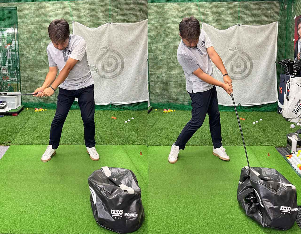 画像: インパクトバッグを横から思いっきりぶっ叩くと大きな円弧で振るイメージが分かりやすい