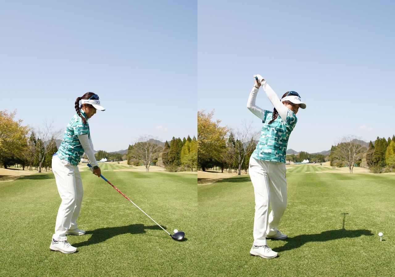 画像: 画像A バランスの良いアドレス(左)から、クラブを縦に上げ手元の高いアップライトなトップ(右)をとる(2021年のTポイント×ENEOSトーナメント 写真/大澤進二)