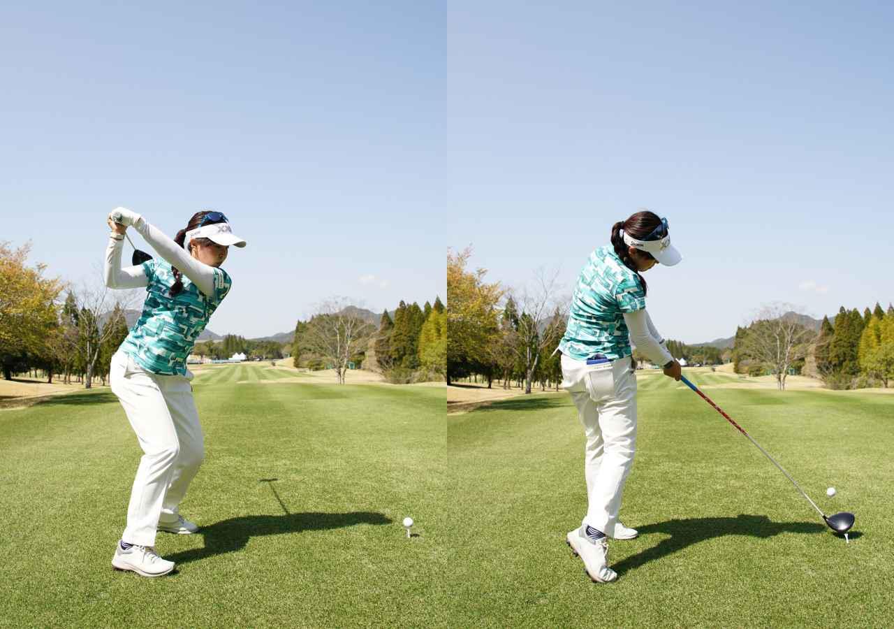 画像: 画像B 重心を左に移動するタイミングで手元が低くなりフラットな位置からダウンスウィングに入る(左)、下半身を積極的に使って体幹を使ってボールを押し込むようにインパクトする(右)(2021年のTポイント×ENEOSトーナメント 写真/大澤進二)