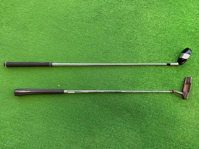画像: パター用のスチールシャフト(150グラム)と組み合わせて使用(写真上)。クラブ長は36インチとなっている