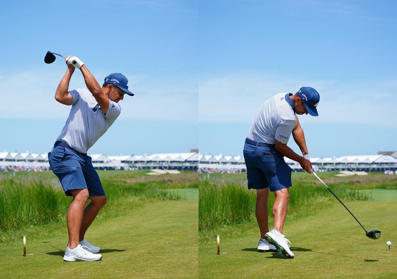 画像: 画像B トップは体を縦方向にねじり手元が頭より高く、シャフト向きはターゲットより左を向くレイドオフ(左)。インパクトではヘソがターゲットを向くほど下半身を積極的に使う(右)(写真は2021年の全米プロゴルフ選手権 写真/ Blue Sky Photos)