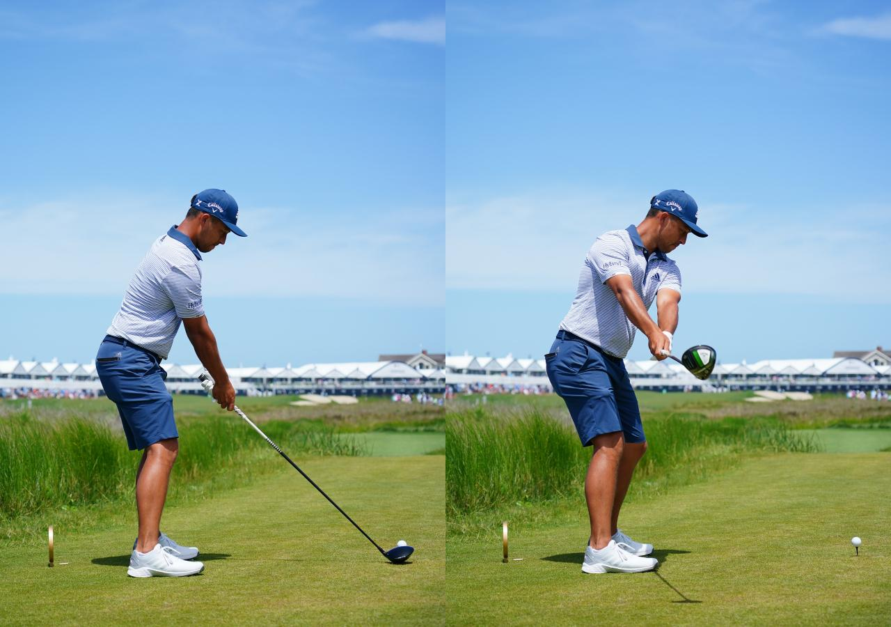画像: 画像A ややハンドアップで構えたアドレス(左)から手首を使わずに両腕を伸ばしてワイドにテークバックをとる(右)(写真は2021年の全米プロゴルフ選手権 写真/ Blue Sky Photos)