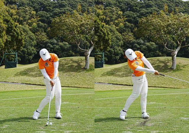 画像: 画像C 左手の甲がターゲットに向き左腕とクラブが一直線になるインパクト(左)、フォローまで長いインパクトゾーンで打つ(右)(写真2021年のヤマハレディースオープン葛城 写真/姉崎正)