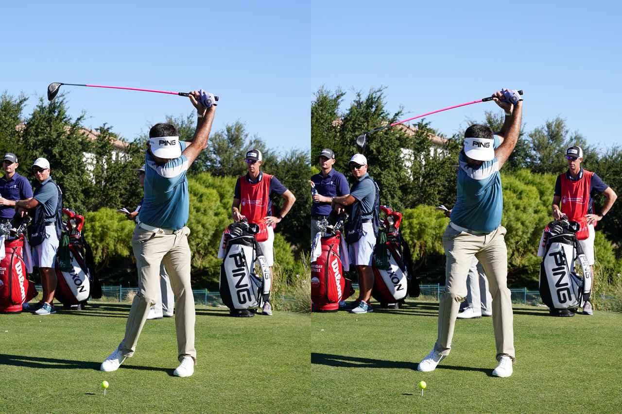 画像: トップから切り返しの動き。切り返しでヘッドが落ちるタイミングで体重が右足に乗る