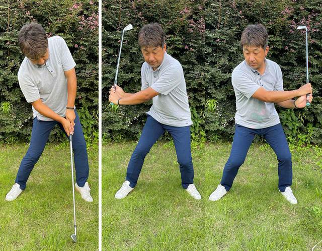 画像: (左)スウィング中に体が浮いてしまってはダメ。(右)手だけで振ってはダメ