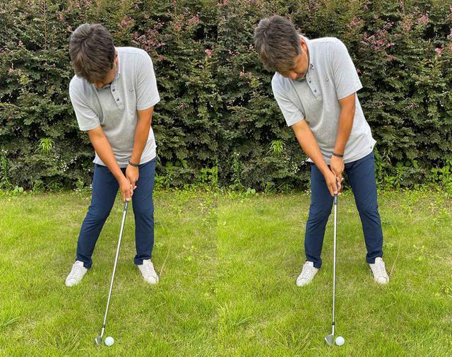 画像: (左)地面をしっかりつかんで土台が安定するとボールを押し込める。(右)体が浮くと弱々しい球になり、方向性も安定しない