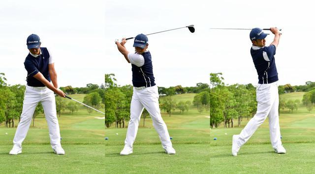 画像: フォローの位置(左)から素振りを始めることで、クラブの重さによって助走がつき、自然とスムーズにクラブを振ることができると目澤