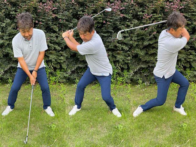 画像: 中腰のまま腰を地面と水平に回転させる