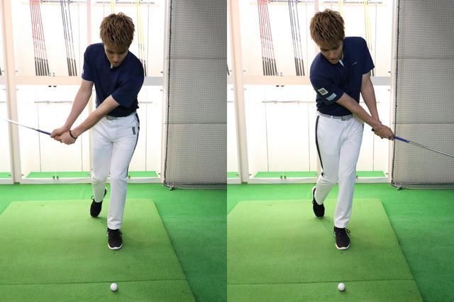 画像: いつも通りにアドレスしたら、右足を体の後ろ側へ引きつま先立ちのような体勢を作る。すると左足に重心を置いた体勢ができあがり、クラブヘッドの最下点は左足の前付近で安定する