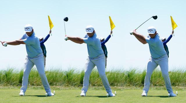 画像: 左腕が地面と平行になるポジション(左)を過ぎた直後(中)には下半身は左サイドに動き切り返しの準備が始まっている。写真右までクラブが上がるのは単に惰性で上がっているだけだと吉田(写真は2021年の全米プロゴルフ選手権 撮影/Blue Sky Photos)