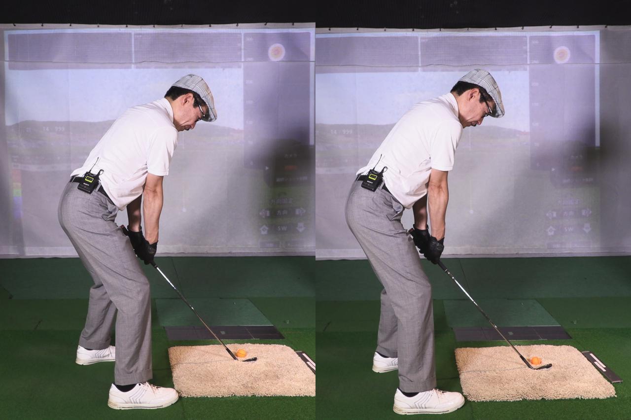 画像: ジョニ男の元のアドレス(左)と30ヤード打つためのアドレス(右)。ロフトを立てて、少しオープンスタンスの度合いを少なくした