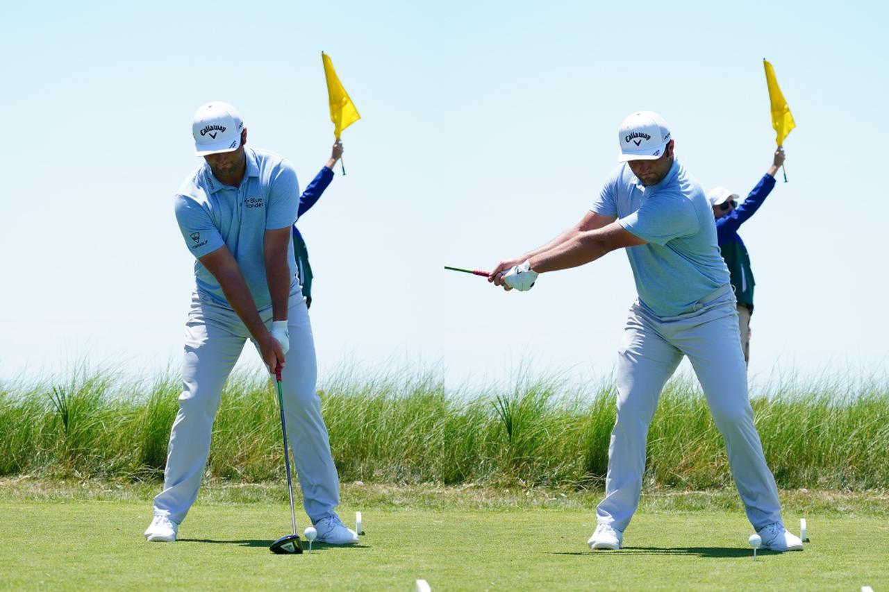 画像: 腕を伸ばし、手元を体から遠ざけるようなテークバックをしていることで、左肩甲骨が早い段階でスライドされ、コンパクトなトップからでも切り返すことができている(写真は2021年の全米プロゴルフ選手権 撮影/Blue Sky Photos)