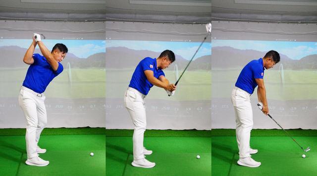 画像: 写真B:ヘッドが立った状態からダウンスウィングした場合、手の動く量はシャローにクラブを下ろした場合と同程度だが、ヘッドの動く量が少ない