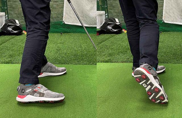 画像: 「動的ベタ足」。右かかとがが内側に粘りながら回転するので、右太ももと左太ももがひっつき、後ろから見るとシューズが左側に傾きます