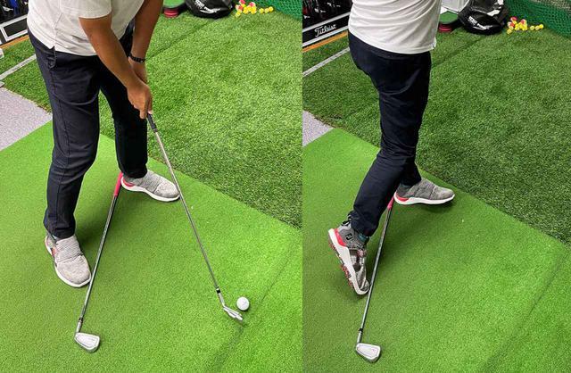 画像: 「クラブクロス置きショット」。動的ベタ足ができれば右足は地面のクラブに当たらない