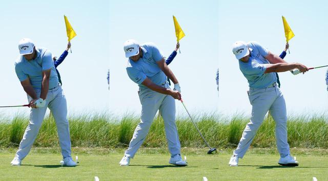 画像: 腕のローテーションが起きるタイミングはダウンスウィング(左)からインパクト(中)ではなく、フォロー(写真は2021年の全米プロゴルフ選手権 撮影/Blue Sky Photos)