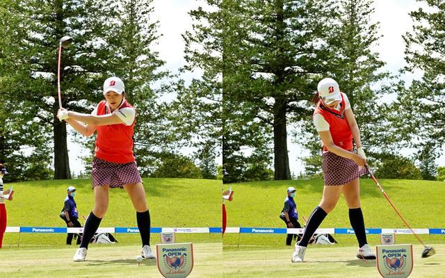 画像: 画像B 切り返してから左手首が手の平側に折れボールをつかまえる動きが入る(左)、その後フェースのターンは少なく体の回転で左に振り抜きフェードボールを打つ(右)(写真は2021年のパナソニックレディスオープン)