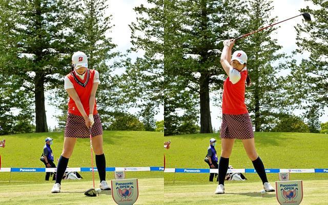 画像: 画像A 背骨をあまり傾かせず真っすぐな軸をイメージさせるアドレス(左)から体を縦にねじるように高くアップライトなトップを摂る(右)(写真は2021年のパナソニックレディスオープン)