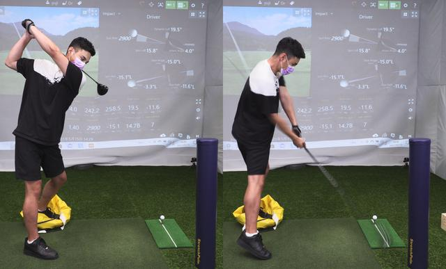 画像: ストレッチポールに当たらないようにスウィングすることで、インサイドからクラブを下ろせている。ユージは突っ込み防止のために左足でインパクトバッグを踏んでいるが、なくても練習に問題はない