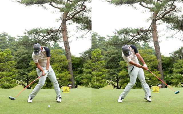 画像: 画像C 体をボールに右側にキープしながら左ひざを伸ばす動きを入れ回転力を得る(左)、その力をクラブを前に進める力に変換し振り抜いている(右)(写真は2021年のゴルフパートナープロアマトーナメント)