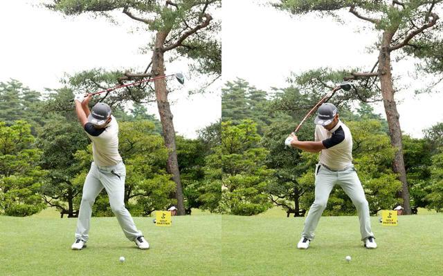 画像: 画像B 上体の捻転を右サイドでしっかり受け止めながら肩は90度以上回るトップを作る(左)、センターから右に軸を取り上半身と下半身の捻転差を大きく作ることでヘッドスピードを上げるパワーを生む(右)(写真は2021年のゴルフパートナープロアマトーナメント)