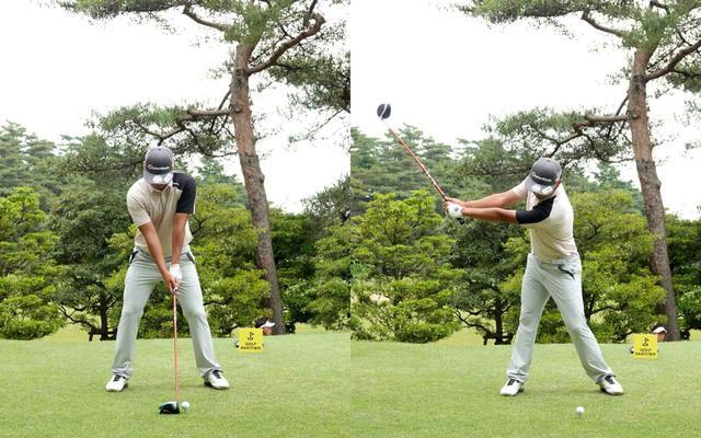 画像: 画像A 両足を地面にしっかりとつけ、グリップはオーソドックスなスクェアグリップで握る(左)、手元を体の遠くに上げながらワイドにテークバックする(右)(写真は2021年のゴルフパートナープロアマトーナメント)