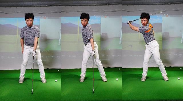 画像: 左手でクラブを持ち、右肩を引いた状態を作ってからスウィングするドリル