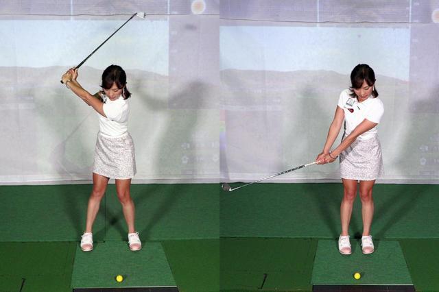 画像: 飛距離を出したいショットではコックが入り(左)ダウンスウィングからインパクトでリリースする動きが入るが、アプローチの場合はコックを入れず左腕・左手首とシャフト・クラブヘッドが一直線の状態をキープしたままスウィングする(右)