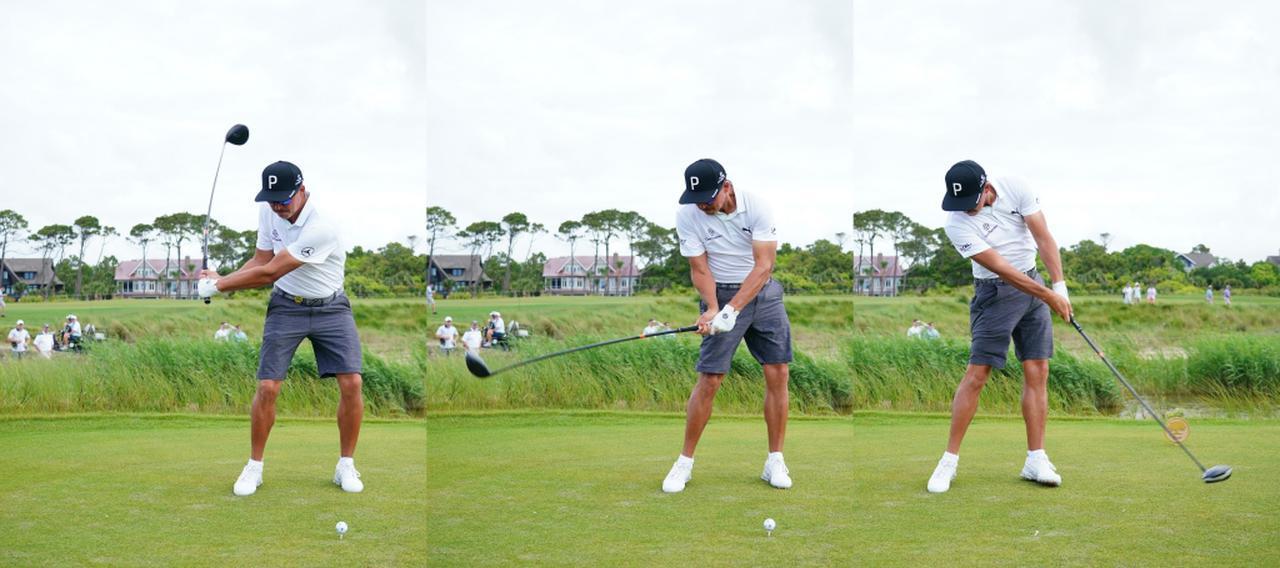 画像: インパクト辺りで両ひざが伸びる反動によってヘッドが返ることで、シャローにクラブを下ろして右へのプッシュなどのミスが起こらない(写真は2021年の全米プロゴルフ選手権 撮影/Blue Sky Photos)