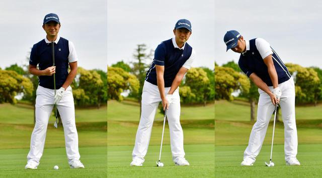 画像: アイアンの場合は背骨のラインがボールの上に位置するよう、まっすぐ構えるのが正解(写真左)。上半身が右や左に傾いてしまうのはNGだ