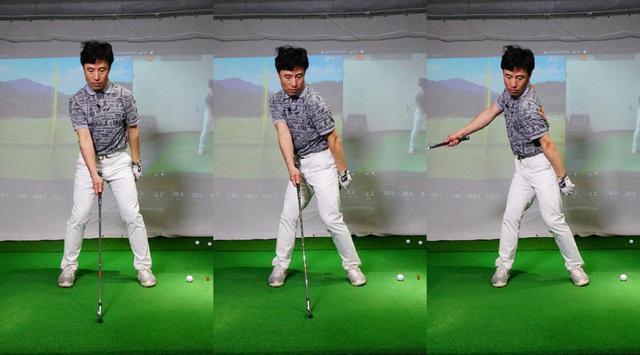 画像: 右手でクラブを持ち、左肩を入れた形を作ってからスウィングするドリル