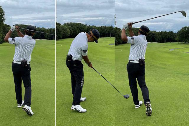 画像: (左)普通に打ったときのフィニッシュ。(中・右)インパクトで「ダーン」と声を出すとインパクトが強くなり、振り切りも良くなります。結果フィニッシュは少し形が悪くなるものの、ボールに体重が乗り飛距離も伸びました