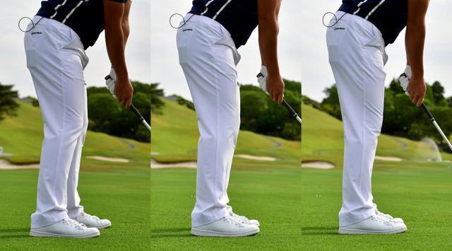 画像: 7番アイアンのようなミドル番手の場合はスタンスラインは目標方向に対して真っすぐ(中)。ロング番手の場合は右足を背中側に引いてクローズスタンスに(左)、ショート番手の場合は右足を体の正面側に出してオープンスタンス(右)に構えると良いと目澤