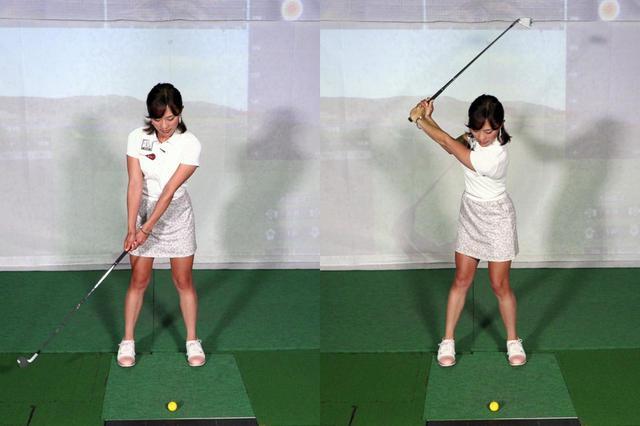 画像: 左腕を伸ばした状態でクラブを上げることで(左)ダフリを防げると小澤。トップ位置は左腕が伸びた状態をキープできるギリギリの高さが正解だ(右)