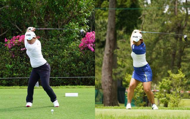 画像: 画像B トップでも左つま先から頭にかけ斜めに傾いたラインから(左)、体の中心のラインを崩さないトップに改良された(右)