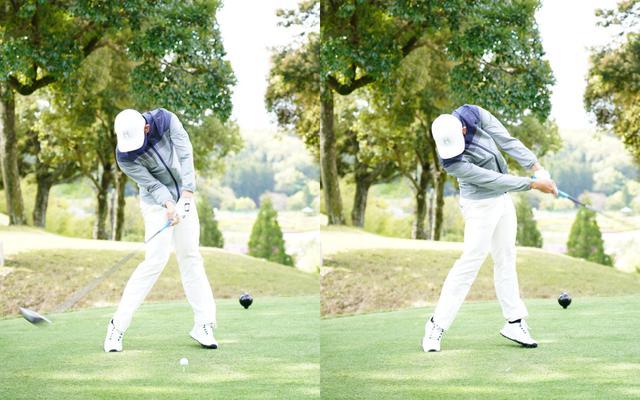 画像: 画像B:プレインパクトの段階で左ひざが伸び、かかとが浮いている。それでいて頭の位置は低いままであることで、クラブを加速させつつミート率も保っていることがわかる(写真は2021年の東建ホームメイトカップ 写真/有原裕晶)