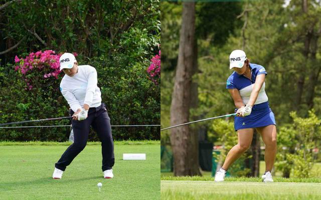 画像: 画像C 左の画像では右への傾きが大きく改良した新スウィングでは体の傾きは少なく軸が真っすぐになっている(写真は2019年のダイキンオーキッド(左)、右は2021年のニチレイレディス(右) 写真/姉崎正(左)、大澤進二(右)