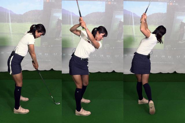 画像: アドレス(左)で肩に力が入った悪いスウィング。右脇が空いた形のトップ(中)になり、フォロー(右)では左脇が大きく空いてヘッドに力が伝わらずHSが上がらない