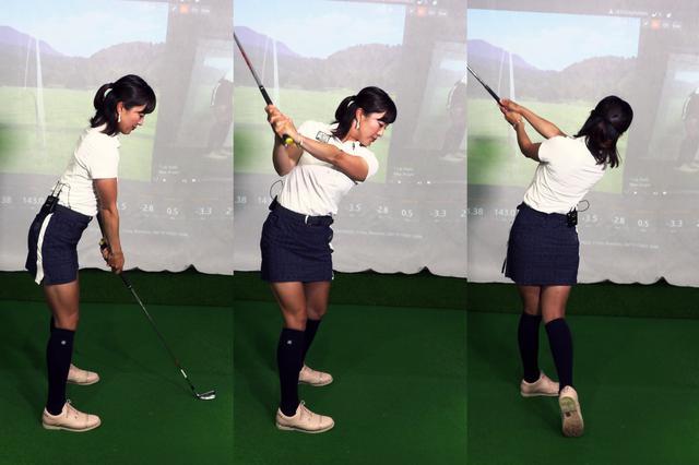 画像: アドレス(左)でなで肩を意識したスウィング。右脇が締まった形のトップ(中)になり、フォロー(右)では左脇が締まっている