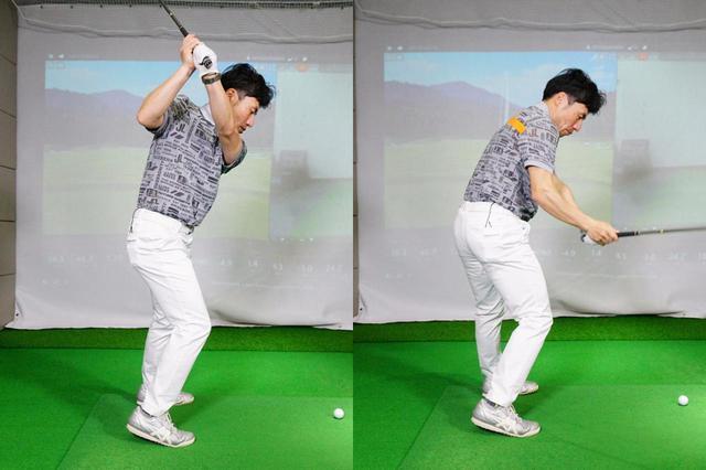 画像: 右つま先体重でバックスウイングすると腰が回らず手元がアウトサイド側に上がり(左)、カット軌道の原因になってしまう(右)