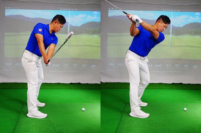 画像: 右肩・右腰から始動する意識を持てば、左腰をスライドする動きも起きにくいと吉田(左)。右ひじがズボンのポケット付近を指すようにクラブを上げていけば、トップも深くなり過ぎず自然と適切な位置に収まるという(右)