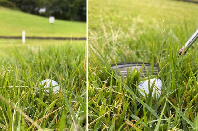 画像: 写真のように沈んでいるように見えても、実はボールの下には空間があります。打ち込んでしまうとフェースの上っ面に当たるので、横からトップ気味で打つような気持ちでちょうどいいです