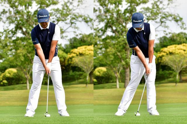 画像: アドレス時(左)よりもハンドファーストな状態でインパクトしよう(右)